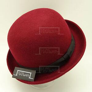 FASHION Wool Felt Women Top Hat Ladies Soft Bowler Derby Party | 57cm | Burgundy