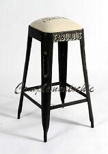 Sgabello ferro alto con seduta imbottita bar Urban Vintage Industriale Retrò
