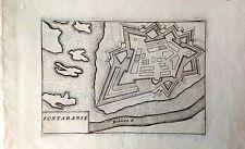 GUIPÚZCOA. Fuenterrabia. Grabado original , Coronelli, ca. 1710