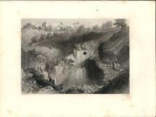 Stampa antica PISCINA DI SILOE Gerusalemme Jerusalem 1857 Old antique print