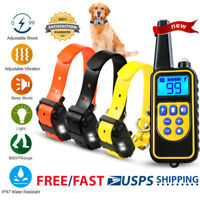 Dog Shock Training Collar Rechargeable LCD Remote Control Obedience 875 Yards