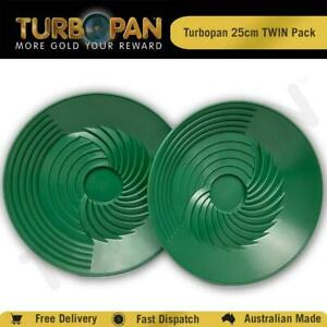 TURBOPAN 25CM PLASTIC GOLD PAN TWIN PACK PROSPECTING PANNING SLUICE -GREEN