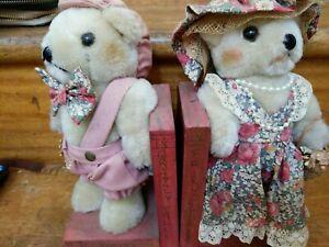 TEDDY BEAR BOOKENDS VINTAGE Plushie GRANDMA GRANDPA Poems TALES BOOK ENDS