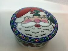 Mikasa Round Covered Candy Dish Trinket Box Santa's Glow FX077 Japan