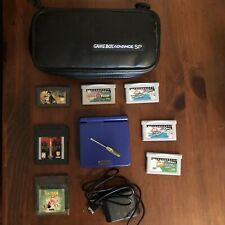 Nintendo GAME BOY ADVANCE SP Cobalt Blue AGS-001 W/ New Charger & 7 Games, Case!