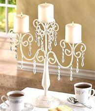 Wedding Romantic ** CRYSTAL  ELEGANCE 3 PILLAR CANDELABRA  CENTERPIECE * * NIB