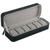 1X(6 Slot Watch Box Portable Travel Zipper Case Collector Storage Jewelry SL2B2)