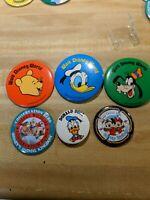Vintage Walt Disney World Buttons pins  Lot Pooh Donald Goofy Wildlife Cruise