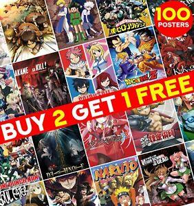 MyAnimeList Top 100 Anime Greatest Anime Poster Print Wall Art Room Decor ED028