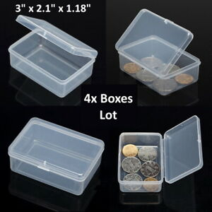 4PCS Small Plastic Storage Container Boxes Box DIY Coins Screws Jewelry Travel