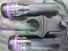 2 x Zoom Cree Taschenlampe FOCUS über 100m Leuchtweite + 1 Halter lila
