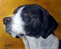 Original Hunting Dog Oil Painting Portrait On 8x10 Canvas Panel Board