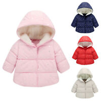 Toddler Children Baby Girl Boy Winter Hooded Coat Jacket Warm Outerwear Clothes
