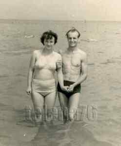 1970s Young Pretty Woman Bikini Big Brest Bare Figure Man Beach Russian photo