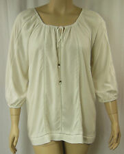Autograph Cream Lace Panel 3/4 Sleeve Peasant Tunic Top Plus Size 18 BNWT # A93