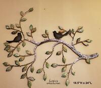 Tree Branch with Birds Wall Decor Rustic Metal Wall Art Indoor Outdoor Sculpture