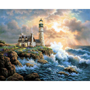 Lighthouse Stamped Cross Stitch Kits DIY Printed Embroidery 14CT (SZX013)