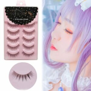 5 Pairs Cosplay False Eyelashes Cross Eye Makeup Handmade Natural Long Lashes