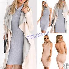 2016 Women Backless Knitting Crop Sexy Sleeveless Top High Neck Short Mini Dress