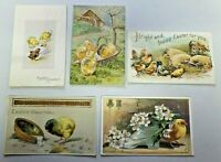 Vintage Lot of 5 Easter Postcards Animals Chicks Early 1900's Used 5700
