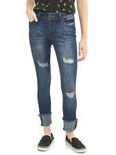 Almost Famous Juniors' Destructed Rolled Cuff Crop Jeans. Size: 1