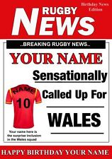 A5 Personalised Wales  Rugby Greeting Birthday Card Rugby PIDOA1