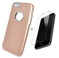 Coque Etui Silicone Gold vitre de protection en verre trempé pour Apple iPhone 6