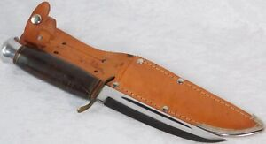 """Vintage Jowika Stacked Leather Handle Germany 8 3/4"""" Hunting Knife NOS MINT"""