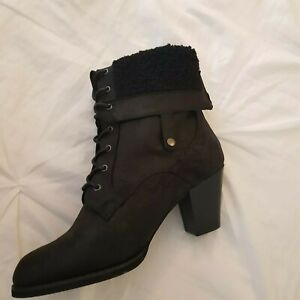 Just Fab Stunning Boots Woman Dark Grey Fold Over W Laces Size 8