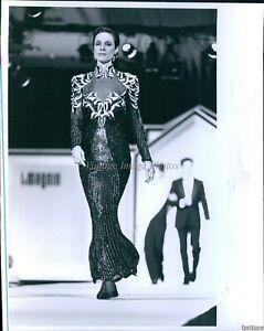 1989 Stephen Yearick Long Slinky Beaded Gown High Neckline Fashion Photo 8X10