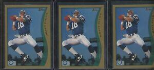 Investor Lot of (3) 1998 Topps Draft Picks #360 Peyton Manning Colts RC Rookie