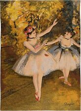 """NEW 26"""" 66CM EDGAR DEGAS TWO DANCERS ON STAGE BELGIAN TAPESTRY WALL HANGING"""