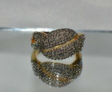 3/4ct GENUINE DIAMOND COCKTAIL RING SET IN 14k YG OVER  .925 STERLING SILVER