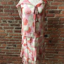 FLAPPER 1920'S FLORAL CHIFFON MUSLIN LINED DAY DRESS Cape Back Tiered XS