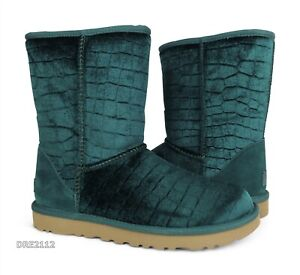 UGG Classic Short II Croc Emerald Velvet Fur Boots Womens 8 *NIB*