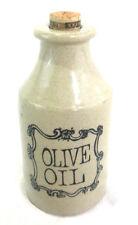 "Vintage Stone Ware Olive Oil Jar w/ Cork Stopper England Crock 6""tall 3""diameter"