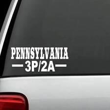 J1055 PENNSYLVANIA 3P/2A Three Percent Second Amendment 2A State Decal Sticker