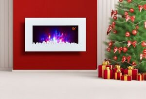 2021 TRUFLAME 7 COLOUR LED WHITE GLASS FLAT ELECTRIC WALL MOUNTED FIRE