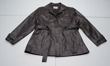 Learsi Womens L Brown Faux Leather Long Lined Belted Jacket