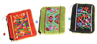 Satin Zip Embroidery Makeup Pouch 6in Qty3 Floral Black Green Red Bags
