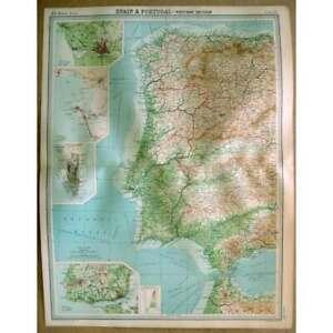SPAIN & PORTUGAL West; Gibraltar, Cadiz, Oporto, Lisbon - Vintage Map 1922