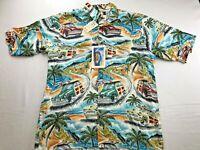 REYN SPOONER ART OF EDDY WOODY CARS 100% RAYON HAWAIIAN ALOHA SHIRT SMALL NEW