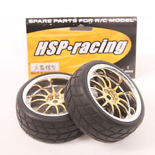 Lot 4 pcs Tires and Rim Wheel  Fit HSP HPI 1:10 On-Road Car 9003-9015 USA Seller