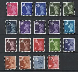 Wales. 1971. W13-W31. Complete set x 19 machins. Fine unmounted mint.