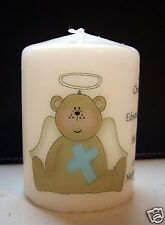 personalised boy baby christening baptism candle gift blue teddy bear angel