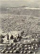 Antique print cemetery Khorâssan Mashad Mesjhed 1865