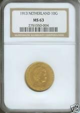 1913 NETHERLAND 10 GULDEN GUILDER GOLD NGC MS63 MS-63 !