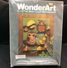 "Vintage Wonderart Stitch & Latch Hook Wall Hanging Kit #4901 OWL DUO 16"" x 27"""