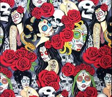 AH274 Las Elegantes Nocturna Sexy Pin Up Girl Zombie Dead Cotton Quilt Fabric