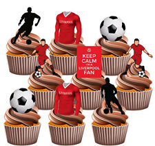 Liverpool Football Themed 36 Cup Cake Toppers Decorations Boys Mens Birthday